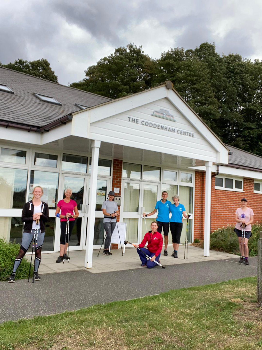 TCC Entrance with Nordic Walkers