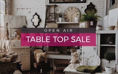 Two Tables Left at the Outdoor Table Top Sale – this Sunday