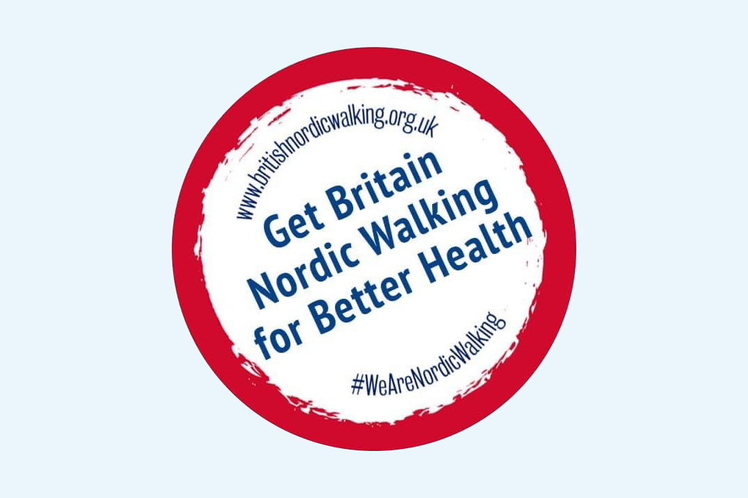 Get Britian Nordic Walking round sticker - learn Nordic Walking in Suffolk County