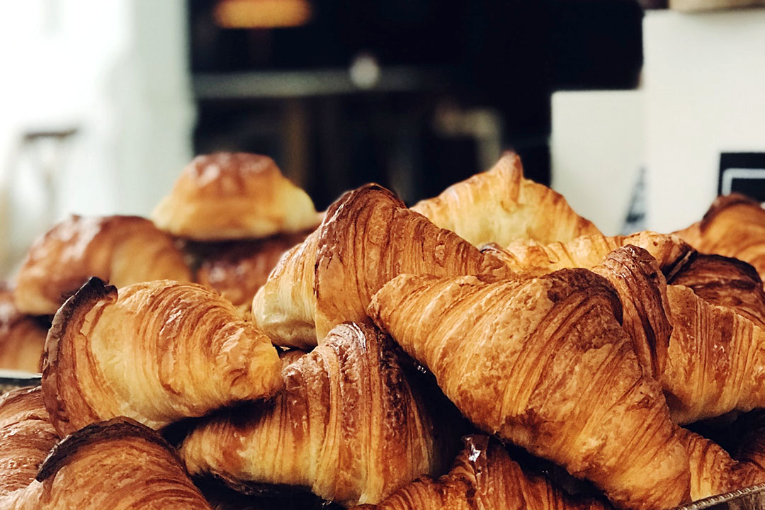A pile of Croissants