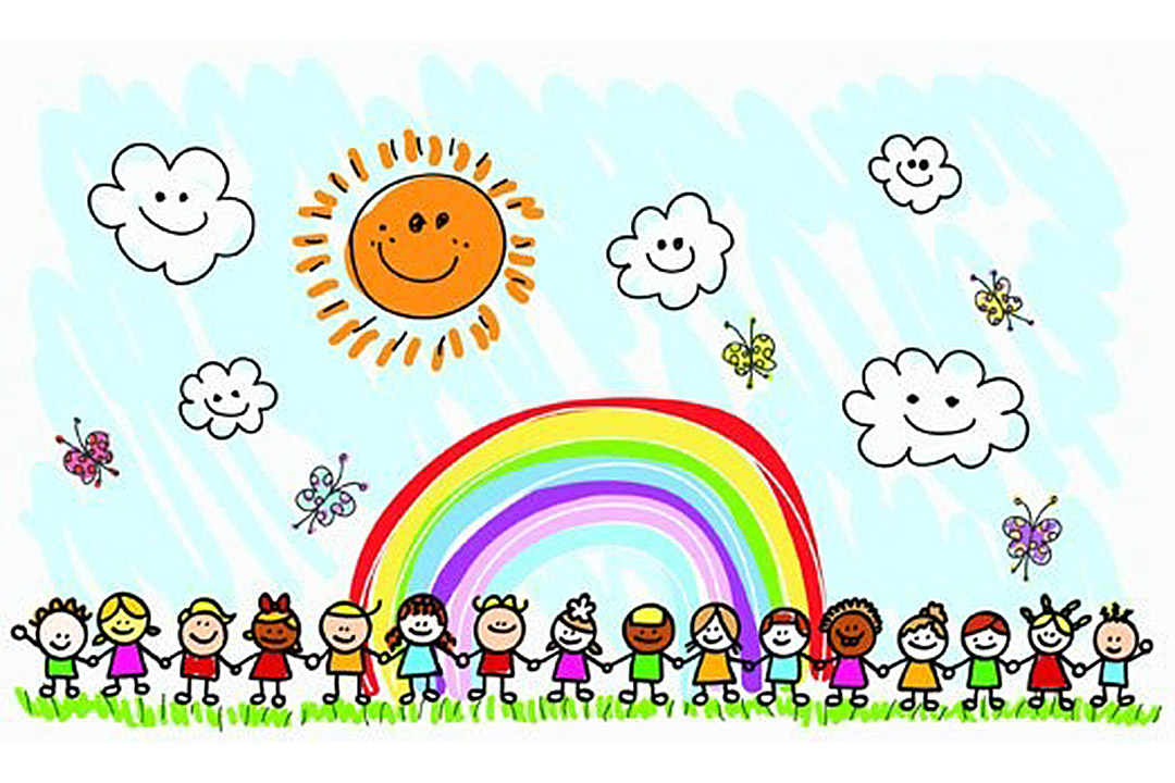 Childs drawing of children stading in a line ahand in hand under a rainbow